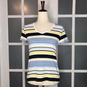 Women's sz S, White/Blue/Yellow Striped, T-shirt